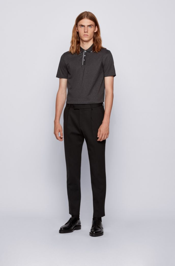 Slim-fit polo shirt in cotton with tipping stripes