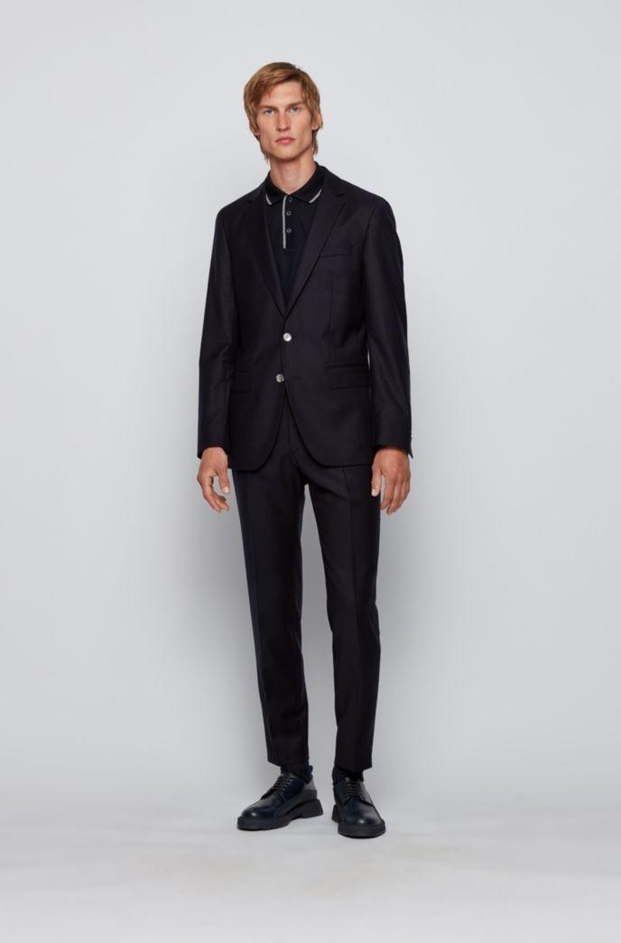 Polo Slim Fit en coton, avec bordures rayées