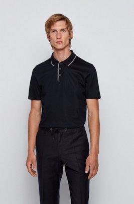 Polo Slim Fit en coton, avec bordures rayées, Bleu foncé