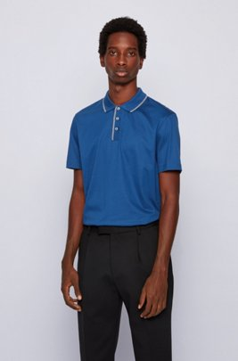 Slim-fit polo shirt in cotton with tipping stripes, Dark Blue
