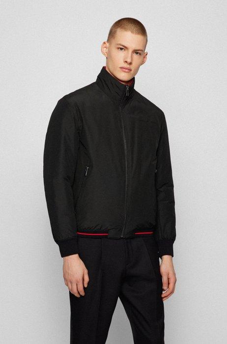 Reversible blouson jacket with zipped pockets, Black