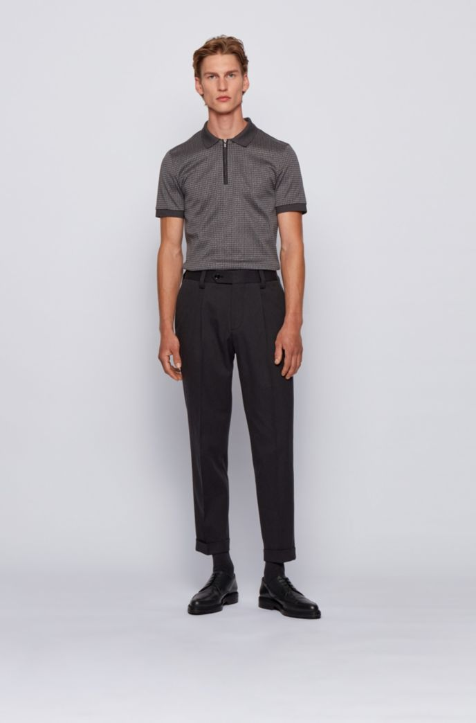 Slim-fit polo shirt in houndstooth cotton
