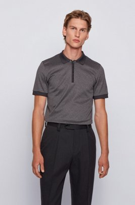 Slim-fit polo shirt in houndstooth cotton, Light Grey