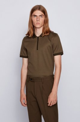 Slim-fit polo shirt in houndstooth cotton, Light Green