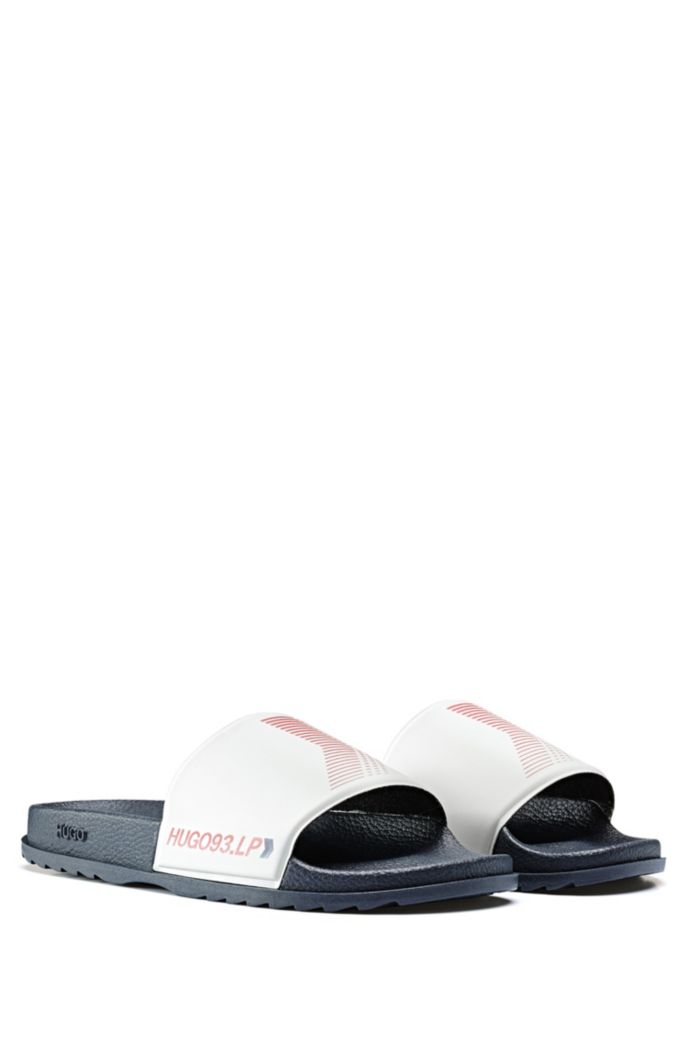 Chevron-print slides with contoured footbed