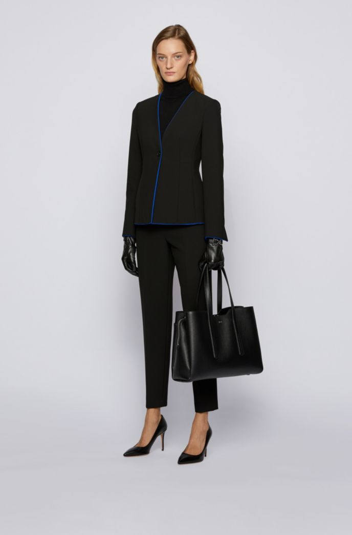 Regular-fit collarless jacket with contrast trims