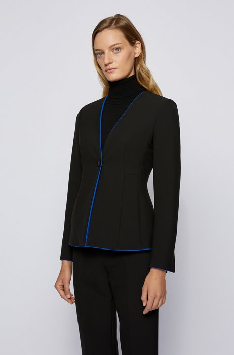 Regular-fit collarless jacket with contrast trims, Black