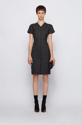 V-neck dress in a stretch-virgin-wool blend, Patterned