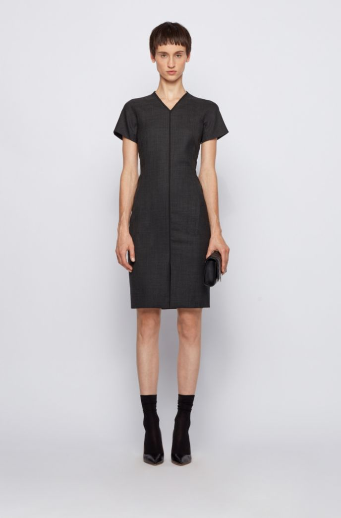 V-neck dress in a stretch-virgin-wool blend