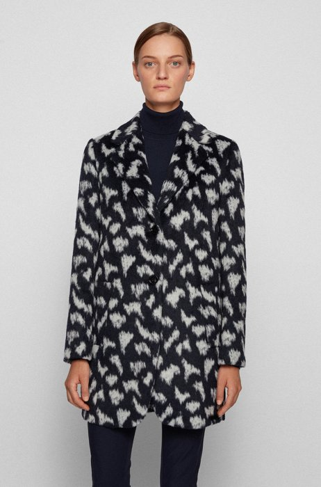 Relaxed-fit coat in pony-print textured fabric, Patterned
