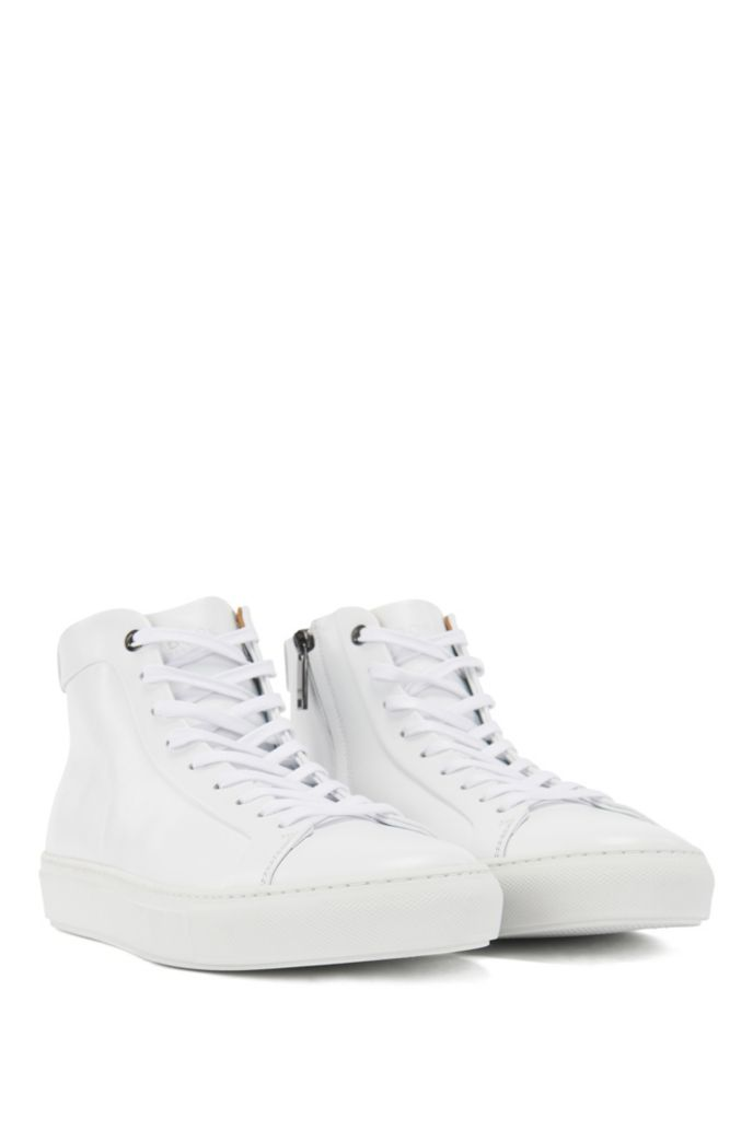High-top trainers in nappa leather with side zip