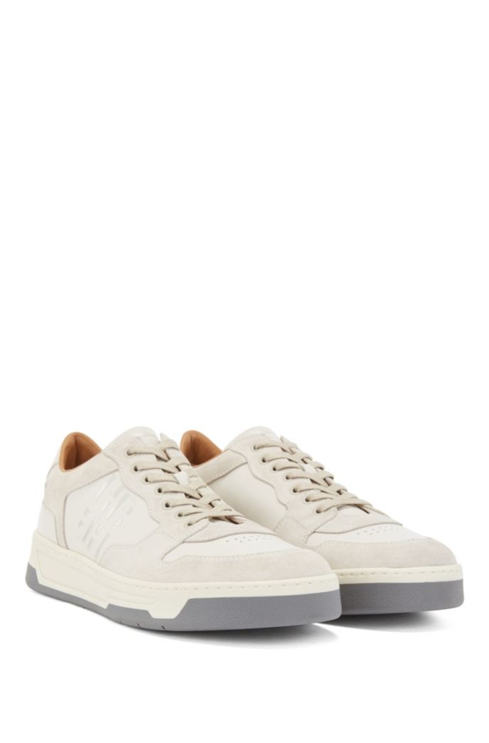 Mixed-leather trainers with glossy monogram