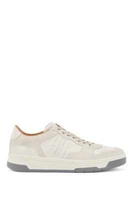 Mixed-leather trainers with glossy monogram, White