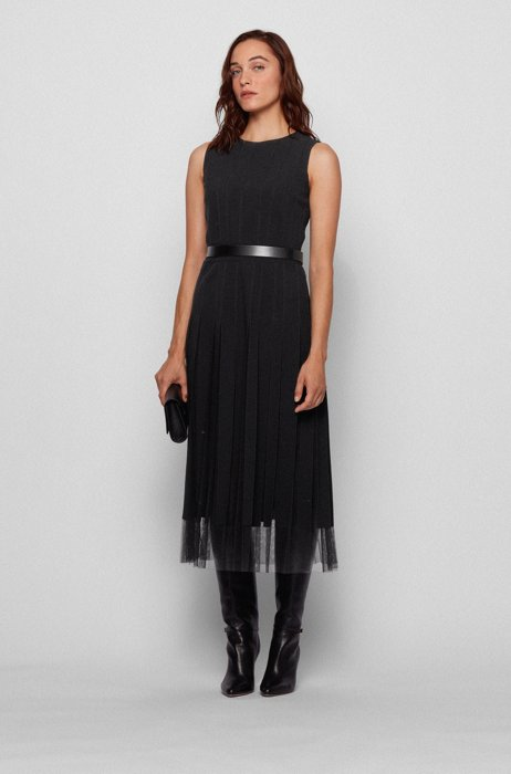 Sleeveless dress in satin-back crepe with fabric stripes, Black