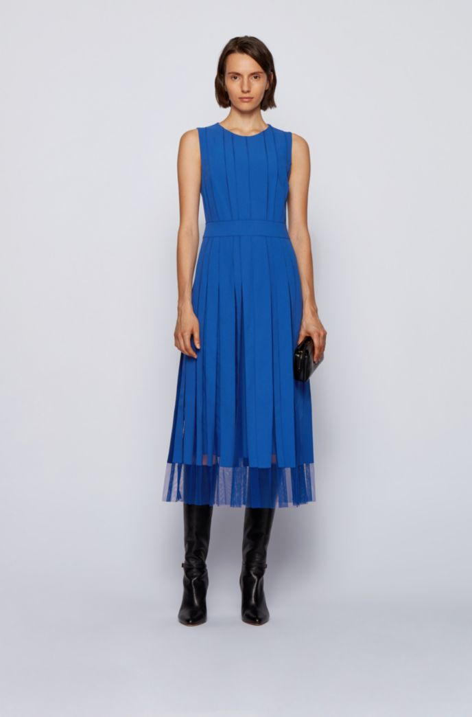 Sleeveless dress in satin-back crepe with fabric stripes