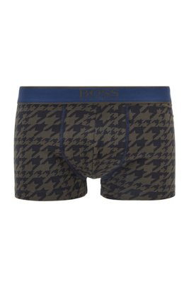 Stretch-cotton trunks with all-over print, Light Green