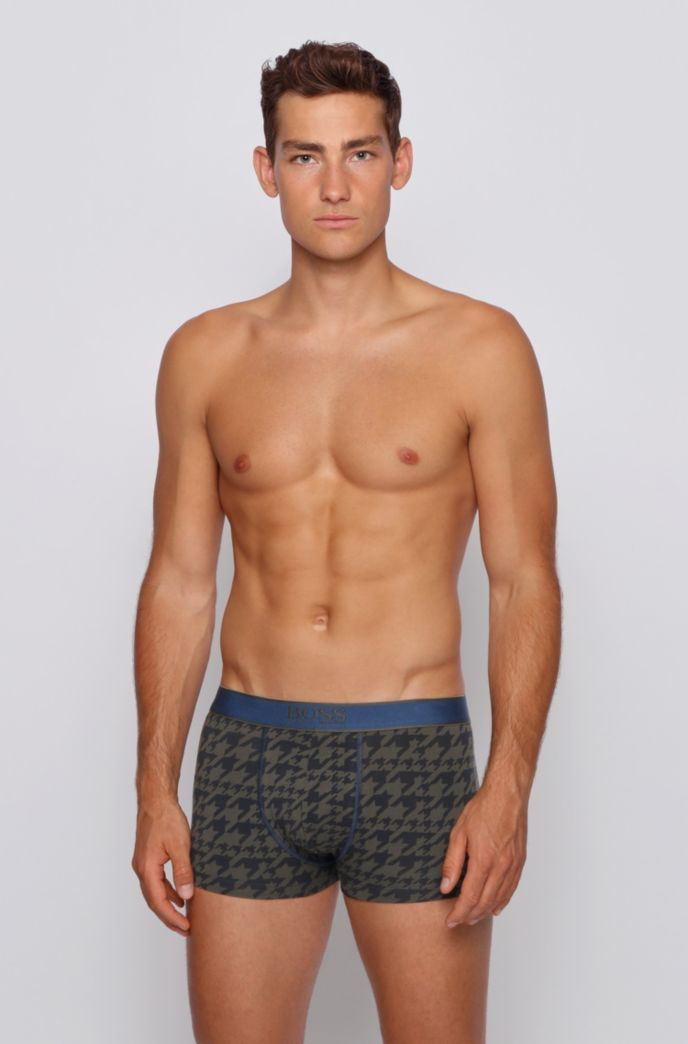 Stretch-cotton trunks with all-over print