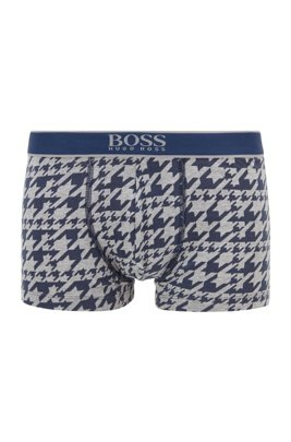 Stretch-cotton trunks with all-over print, Light Blue