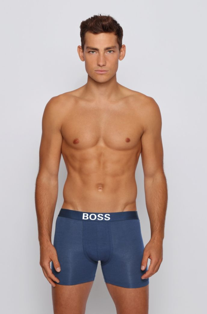 Single-jersey boxer briefs with logo waistband
