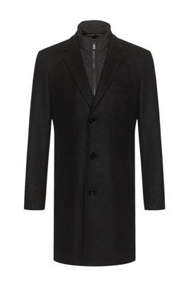 Virgin-wool-blend coat with padded undershirt, Black