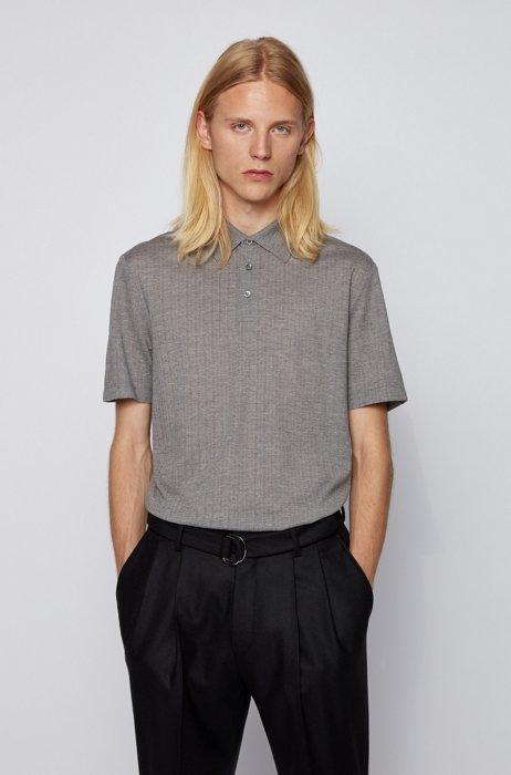 Slim-fit polo shirt in wool-silk jacquard, Silver