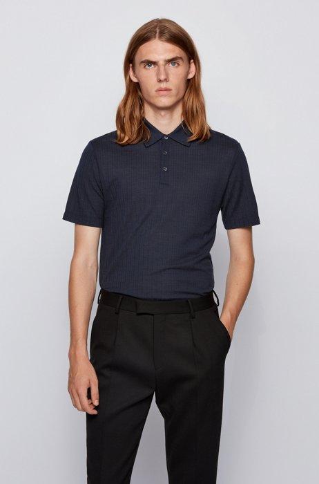 Slim-fit polo shirt in wool-silk jacquard, Dark Blue