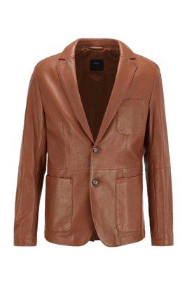 Slim-fit jacket in lamb leather, Dark Brown