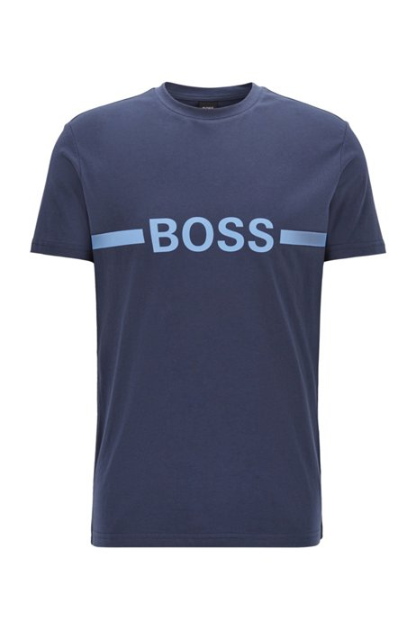 Slim-fit T-shirt in cotton with sun protection, Dark Blue
