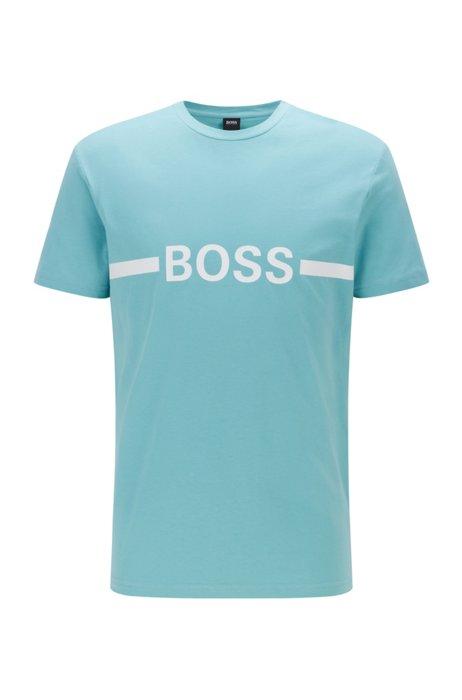 T-shirt Slim Fit en coton avec logo et protection anti-UV UPF50+, Turquoise