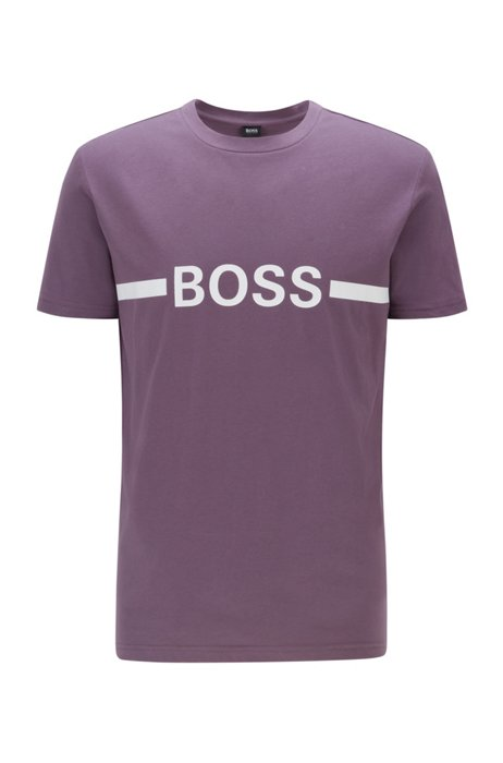 T-shirt Slim Fit en coton avec logo et protection anti-UV UPF50+, Lilas