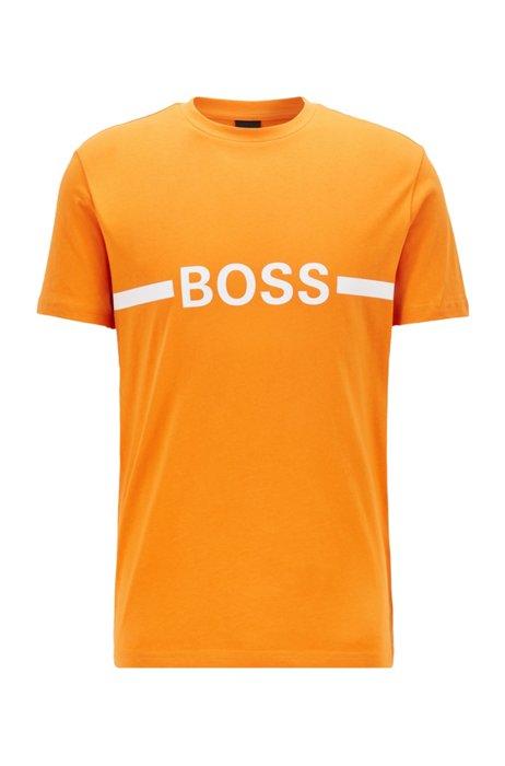 T-shirt Slim Fit en coton avec logo et protection anti-UV UPF50+, Orange