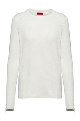 Ribbed sweater in organic cotton with zipped cuffs, White