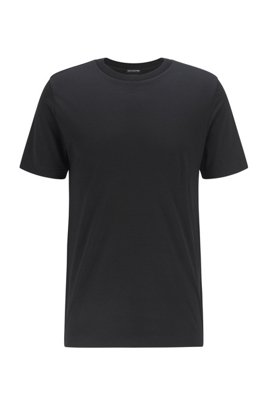Crew-neck T-shirt in traceable Italian virgin wool, Black