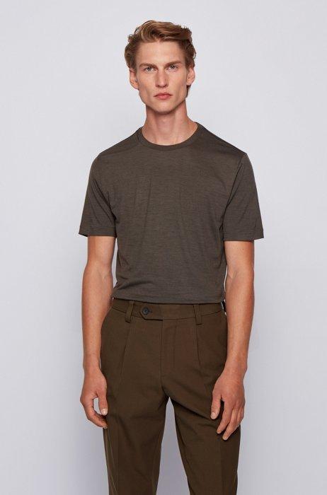 Crew-neck T-shirt in traceable Italian virgin wool, Light Green