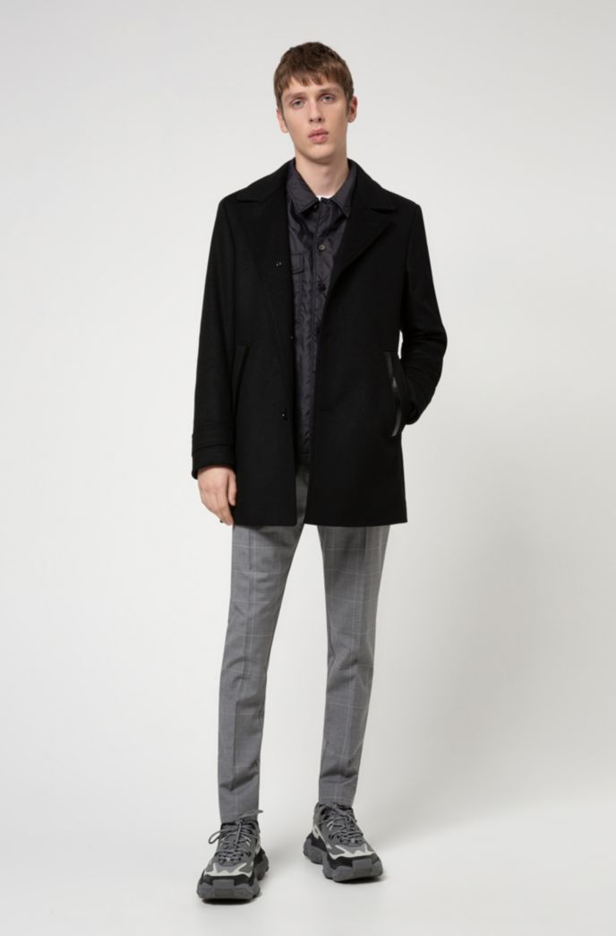 Padded coat in a virgin-wool blend with cashmere