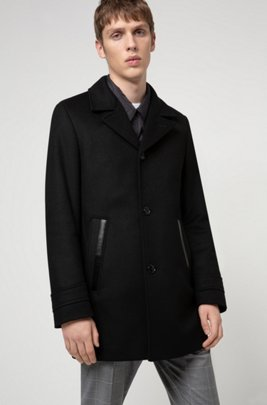 Padded coat in a virgin-wool blend with cashmere, Black