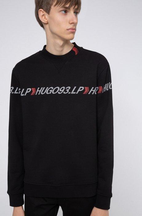 Unisex French-terry sweatshirt with chevron logo tape, Black