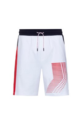 Unisex interlock-cotton shorts with graphic print, White