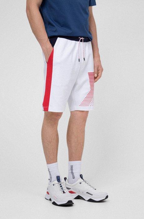 Unisex interlock-cotton shorts with graphic print, White