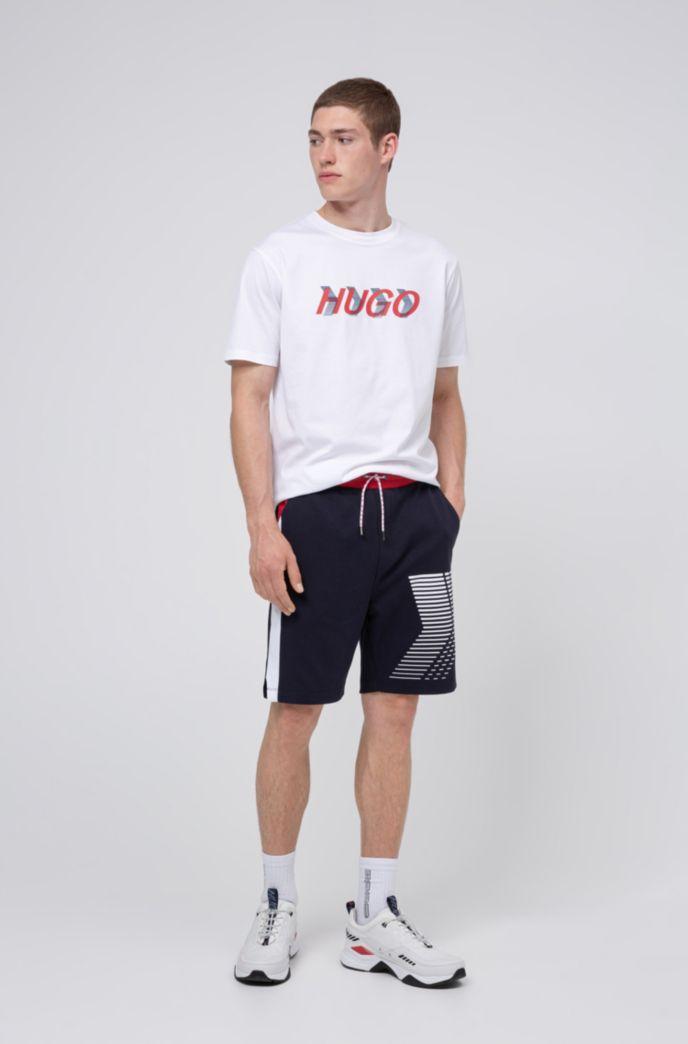 Unisex interlock-cotton shorts with graphic print