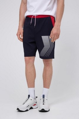 Unisex interlock-cotton shorts with graphic print, Dark Blue