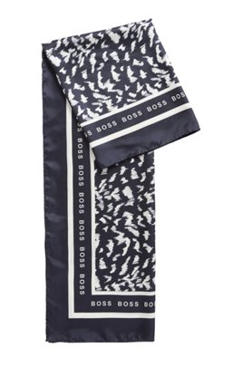 Square scarf in pure silk with collection print, Patterned