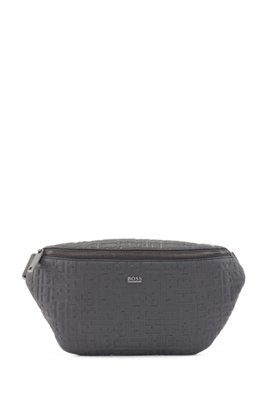 Grained-leather belt bag with embossed monograms, Black