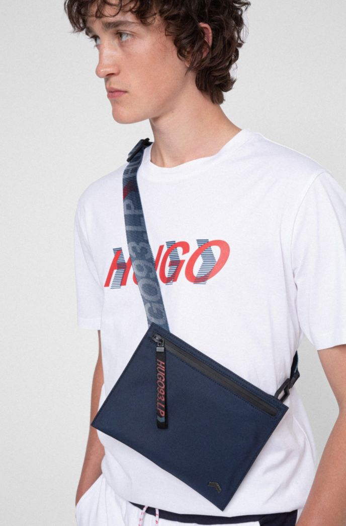 Nylon envelope bag with logo-print webbing strap
