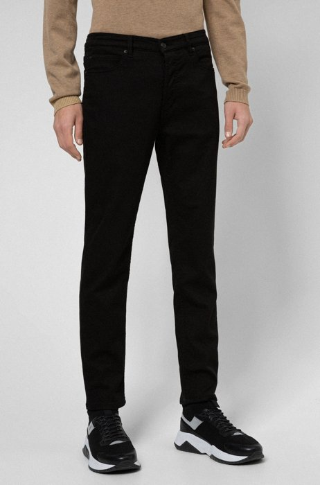 Tapered-fit jeans in black knitted stretch denim, Black