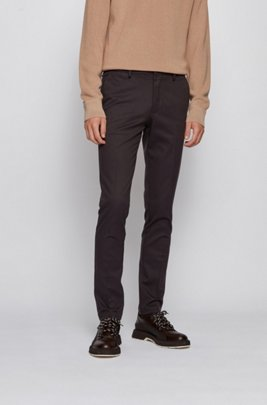 Slim-fit chinos in mouliné stretch cotton, Dark Brown