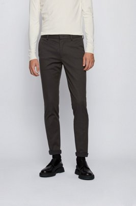 Slim-fit chinos in mouliné stretch cotton, Light Green