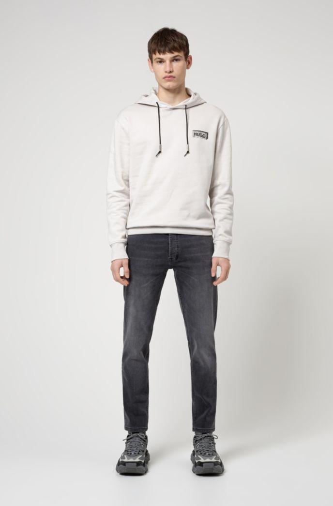 Tapered-fit jeans in black-black stretch denim