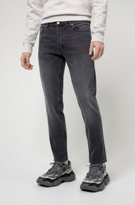 Tapered-fit jeans in black-black stretch denim, Dark Grey