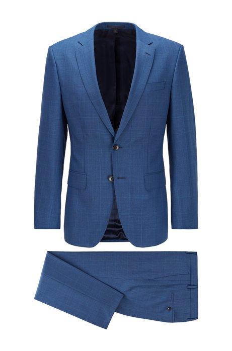Slim-fit suit in checked virgin-wool serge, Dark Blue